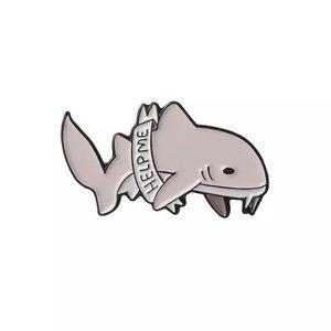 ‼️5 for $25 SALE‼️Help Me Cute Shark Enamel Pin